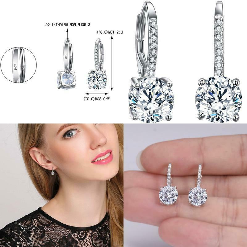 925 sterling silver round cut cz prong
