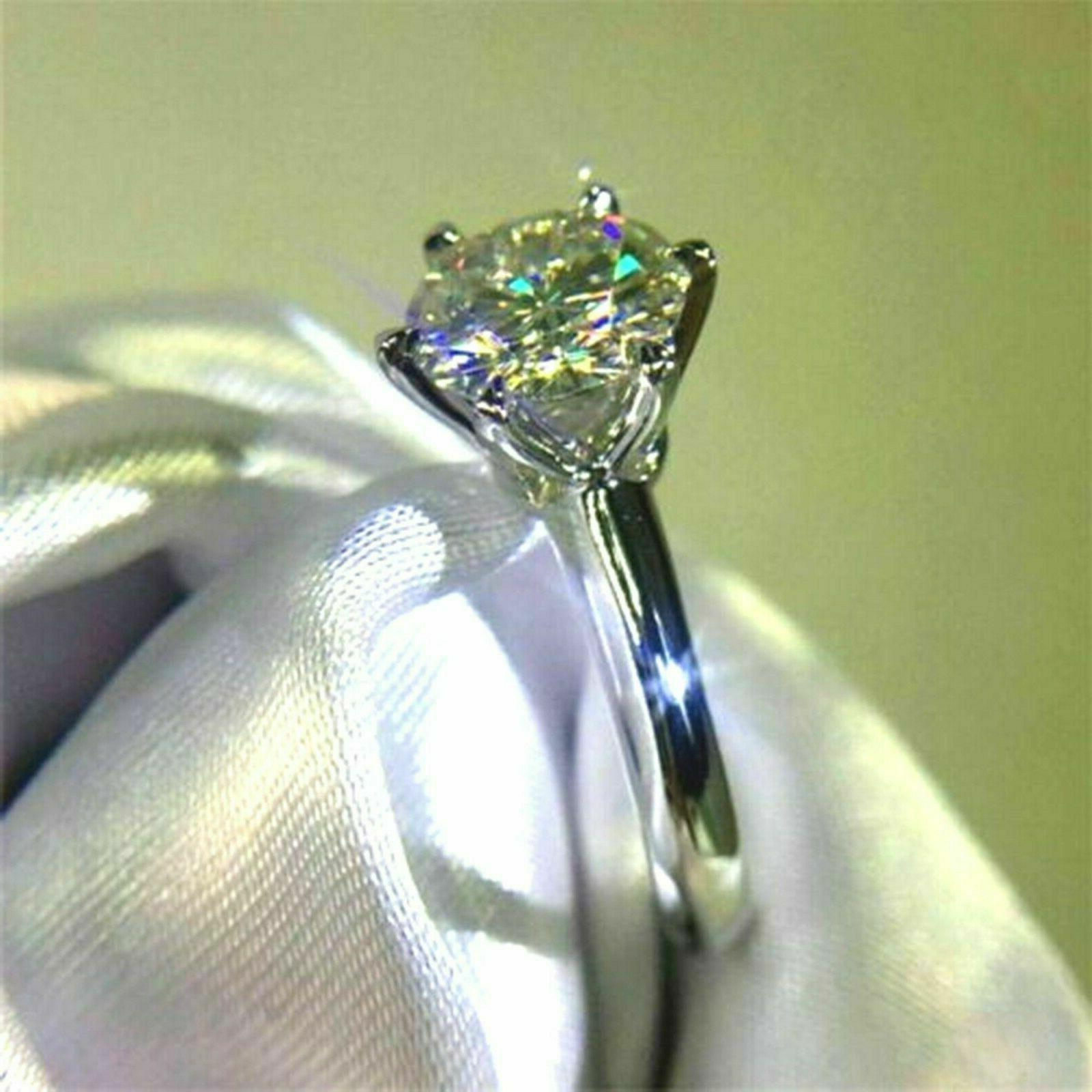 Cut Diamond Engagement in Real White Gold