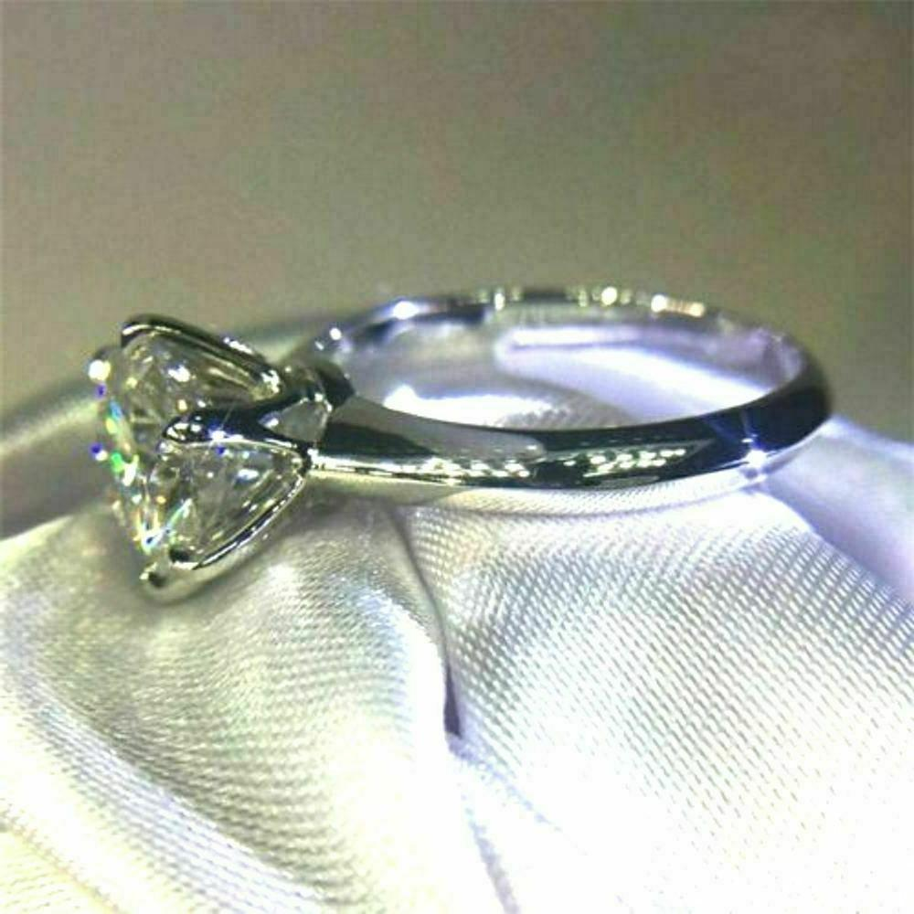 Certified Round Cut in Solid Real White Gold