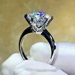 Certified 3.75ct Round Cut Diamond Engagement Ring in Solid