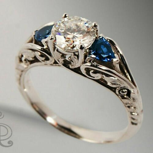 Fashion Sapphire Wedding Engagement Ring Silver Jewelry Size