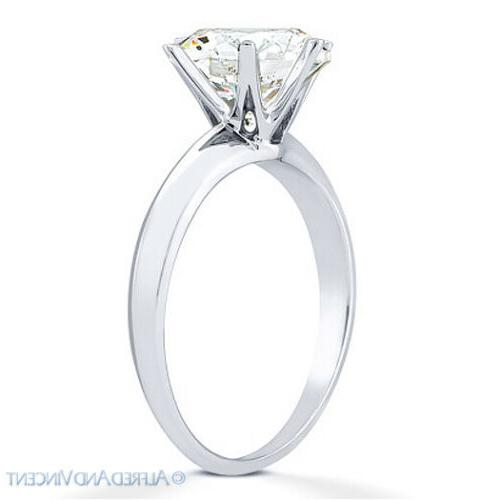 Forever Round Cut Moissanite 14k White Solitaire Engagement