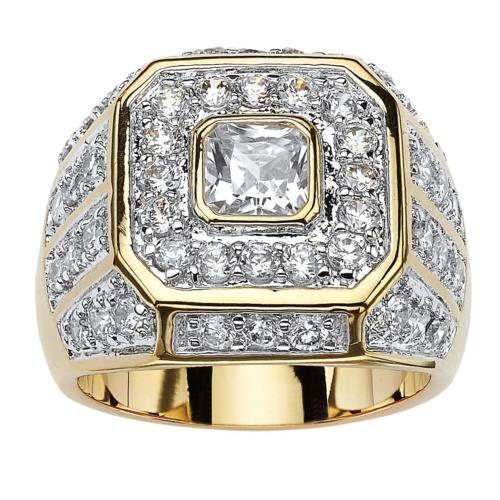 Palm Beach Jewelry Men's 14K Yellow Gold Plated Square Cut C