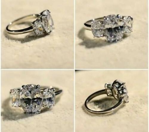Moissanite 4 ct oval Sterling rolled ring