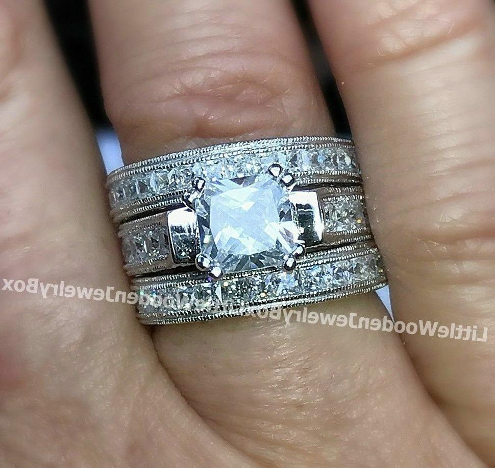 Real .925 Silver 3pc Engagement Ring Band 5-9