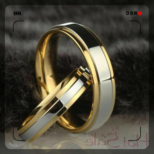 simple 316l stainless steel wedding ring gold