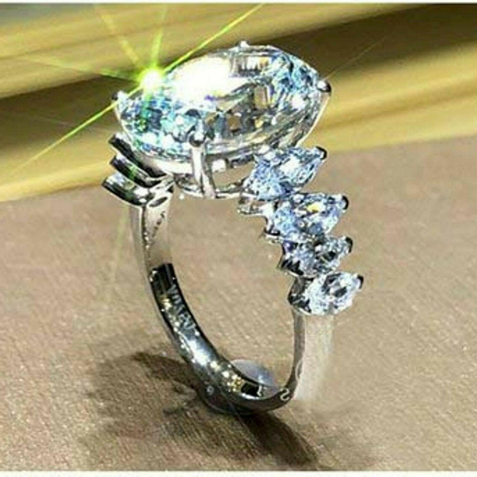 Solid 14k white Gold 4.58 ct Oval Engagement Solitaire Diamond Ring