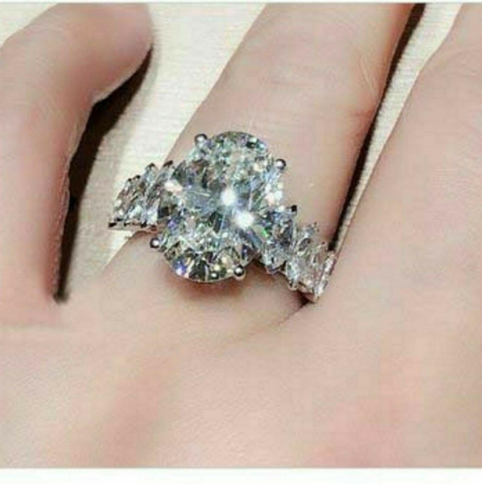 Solid 14k white Gold 4.58 Engagement Ring
