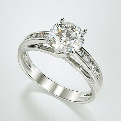 solid 14k white gold solitaire engagement ring