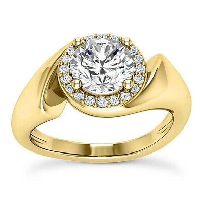 Halo Solitaire .75 Carat Round Cut Diamond Engagement Ring Y