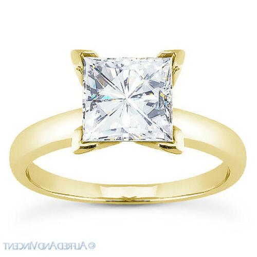 Square Forever Solitaire in 14k Yellow