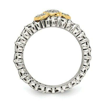 Sterling Silver 14k Diamond 3 Stackable 10.69g