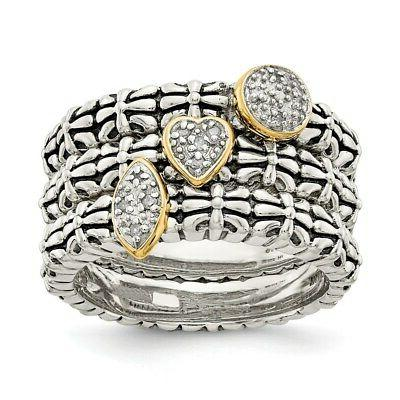 sterling silver 14k diamond 3 stackable engagement