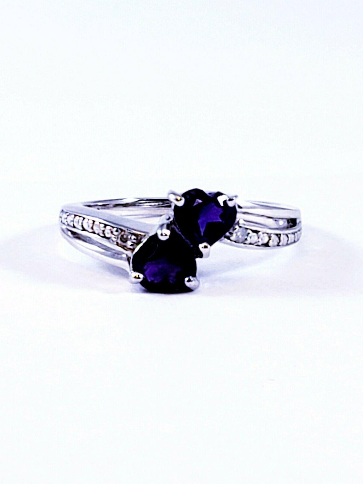 Sterling Silver Accent Amethyst 2 Heart Promise Ring Size 6