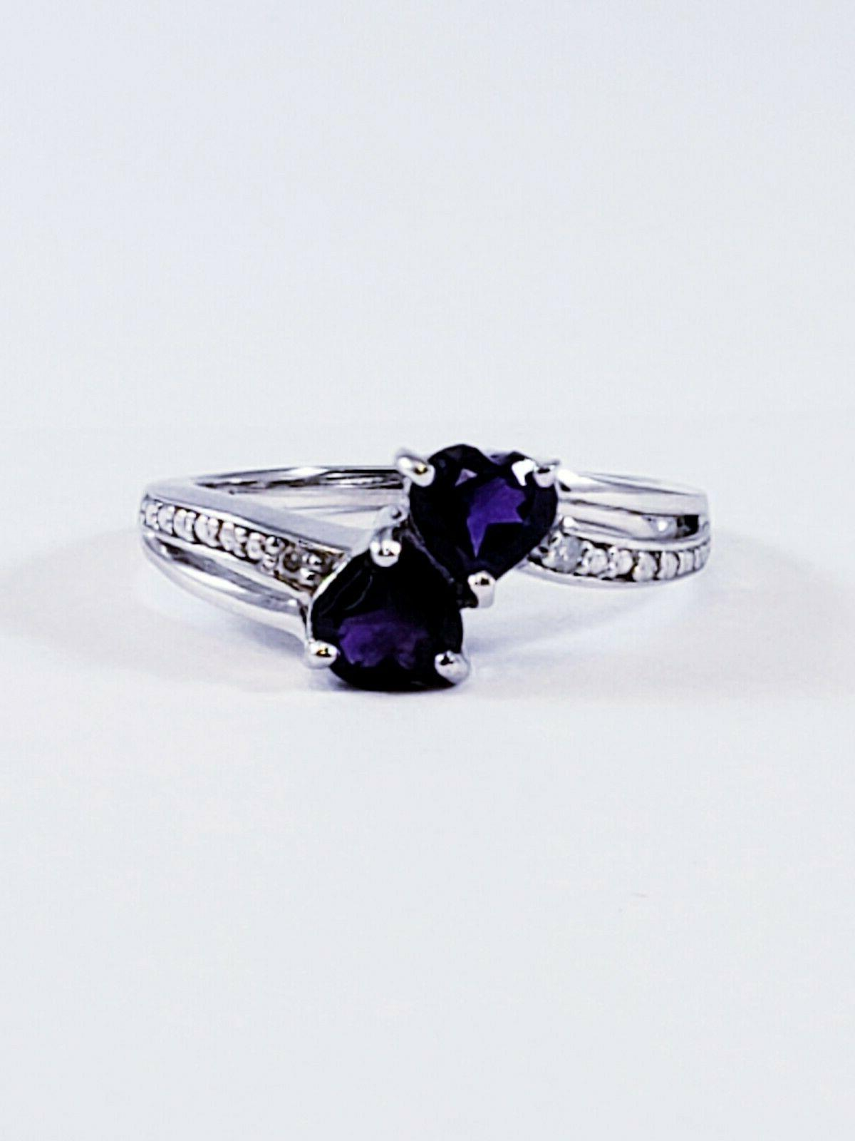 Sterling Accent Amethyst Heart Promise Ring 6