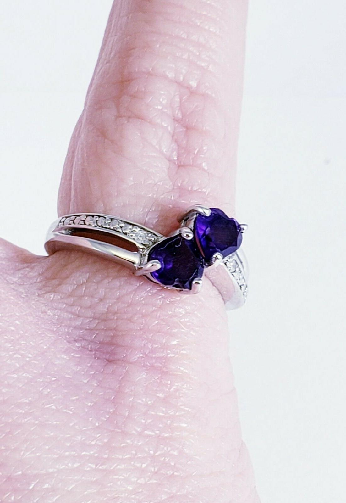 Sterling .925 Accent Amethyst Heart Ring Size 6