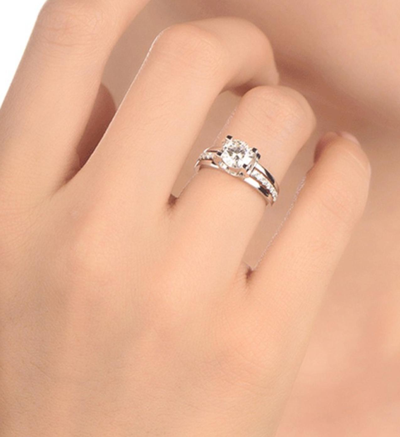 Womens 1.50 CT Engagement CUT Silver 6-9