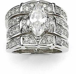 Marquise Cut WGP Silver Ring Wedding Ring Engagement Ring Si