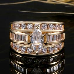 Marquise White Topaz Wedding Engagement Yellow Gold Filled R