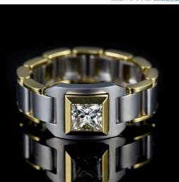 Men's Two-Color Zircon Crystal Ring Luxury Engagement Busine