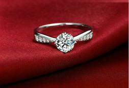 Pave 1 Ct Cubic Zirconia Silver SP Engagement Promise Ring R