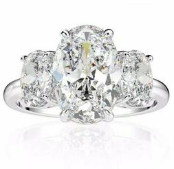 Moissanite 4 ct  Three oval Diamond Sterling w/ rolled White