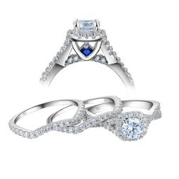 Newshe Round Halo Cz Sterling Silver Engagement Wedding Ring