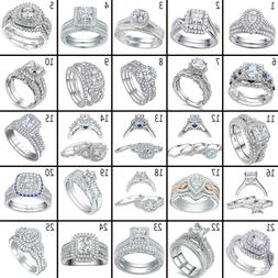 Newshe Wedding Band Engagement Ring Set 925 Sterling Silver