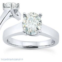 Oval Cut Moissanite 4-Prong Trellis Solitaire Engagement Rin