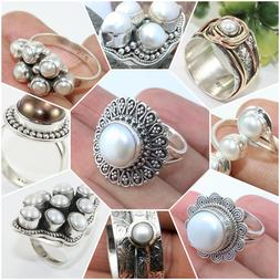 PEARL HANDMADE RINGS IN 925 SOLID STERLING SILVER SIZE MENTI