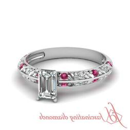 Platinum Pink Sapphire Engagement Rings For Women With Emera