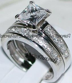 Princess cut Diamond Engagement Ring Bridal Band Set 14k Whi