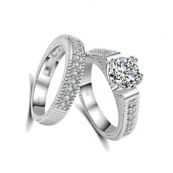 Ring For Him / Her Engagement Wedding Silver Shining Luxury