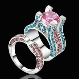 Size 7 Women's Pink Sapphire Engagement &Wedding Ring Set 10