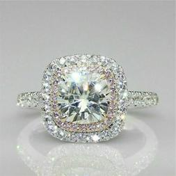 Solid 14k white Gold 3.19 ct Cushion cut Engagement Solitair