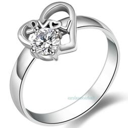 Stainless Steel Love Heart w/ Clear Cz Promise Ring Women's