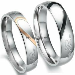 "Stainless Steel ""Real Love"" Heart Couples Promise Engagement"