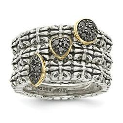 Sterling Silver 14k Black Diamond 3 Stackable Engagement Rin