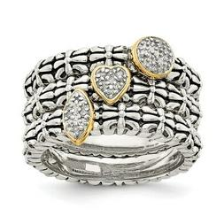 Sterling Silver 14k Diamond 3 Stackable Engagement Rings 10.