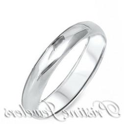 925 Sterling Silver 3mm Dome Womens Wedding Band Accent Brid