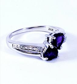 sterling silver 925 diamond accent genuine amethyst