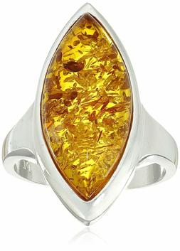 Amazon Collection Sterling Silver 925 Honey Amber Marquise S