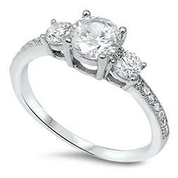 Sterling Silver .925 Women's Bridal CZ Round 3 Stone Engagem