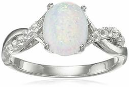 Amazon Collection Sterling Silver Created Opal Ring Size 8
