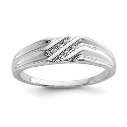 Sterling Silver Rhodium Plated Diamond Men's Engagement Ring