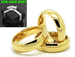 Tungsten Carbide Classic 18k Gold Plated Wedding Band Men Wo