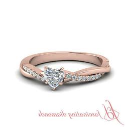 Twist Style Engagement Rings For Women 0.60 Ct Heart Shape G