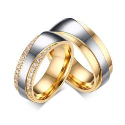 Wedding Bands Rings For Love Luxury CZ Yellow Gold Plated En