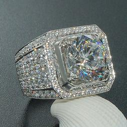 White Gold Ring Band HipHop Engagement MICROPAVE CZ Pinky Me