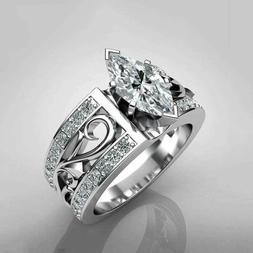 Women 925 Silver Wedding Engagement Rings Marquise Cut White